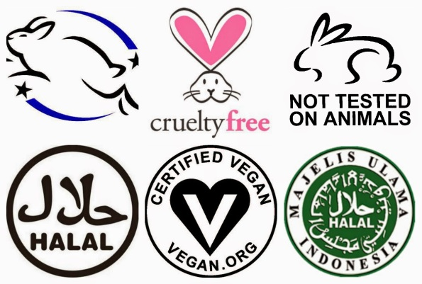 VEGAN, ANIMAL CRUELTY FREE, HALAL MAKEUP LOGO